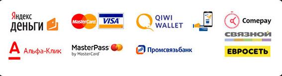 Принимаем к оплате Яндекс.Деньги, MasterCard, Visa, WebMoney, QIWI Walltet, наличные, Альфа-Клик, MasterPass, Промсвязьбанк, пластиковые карты